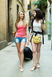 Two cheerfull girls with luggage Stock Photos