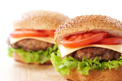 Two cheeseburgers Stock Images