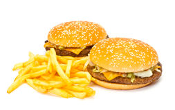 Two Cheeseburgers Stock Photos