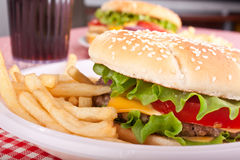 Two cheeseburgers with  fries Royalty Free Stock Photos