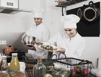 Two chefs cooking food Royalty Free Stock Photo