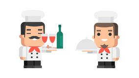 Two chefs holding tray and smiling funny character. Motion graphics. Transparent background stock footage