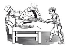 Two chefs making pizza. Illustration of two chefs in characteristic uniform, one tasting pizza and the other putting pizza into a hot flaming oven Stock Image