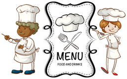 Two chefs and menu sign Royalty Free Stock Images