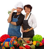 Two chefs preparing for a celebration Royalty Free Stock Images