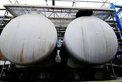 Two chemical tanks Royalty Free Stock Photo