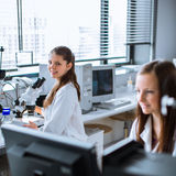 Two chemistry students carrying out experiments in a lab Royalty Free Stock Photos