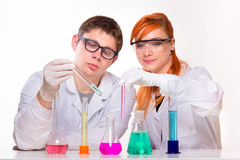 Two chemists at labolatory Royalty Free Stock Photo