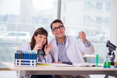 The two chemists working in lab experimenting stock images