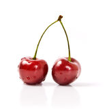 Two cherries. With dewdrops on white background Royalty Free Stock Photo