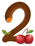 Two cherries. Illustration of the two cherries on a white background Stock Photo