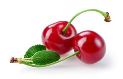 Two cherries isolated on white. Stock Photos