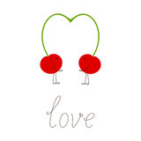 Two cherries and lettering love Royalty Free Stock Photos