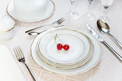Two cherries lie on a white porcelain plate Stock Photos