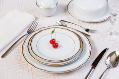 Two cherries lie on a white porcelain plate Stock Images