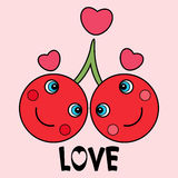 Two cherries in love Stock Image