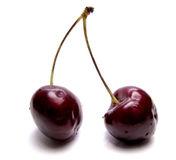 Two cherries - a sweet kiss Royalty Free Stock Photos