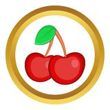 Two cherries vector icon. In golden circle, cartoon style isolated on white background Royalty Free Stock Photography