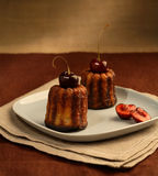 Two cherry cakes. Cherry fruitcakes on a plate Royalty Free Stock Photography