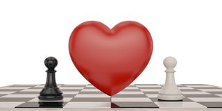 Two chess and heart over white background 3D illustration.  royalty free illustration