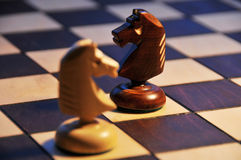 Two chess horse Stock Photos