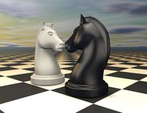 Two chess horses on chessboard abstract render 3D. Stock Image