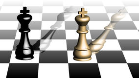 Two chess kings. Isometric view of a chess board and kings Royalty Free Stock Images