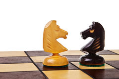 Two chess knight figures. Royalty Free Stock Photography