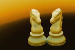 Two Chess Knights. Chess Knights with gold background Stock Photos