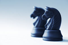 Two of chess knights on a light blue background Stock Photos
