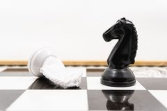 Two chess knights with the vanquished white chess piece lying on its side and the black knight standing upright signifying success. There is a white background royalty free stock photos