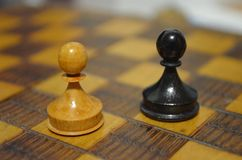Two Pawns on Chess Board Stock Photos
