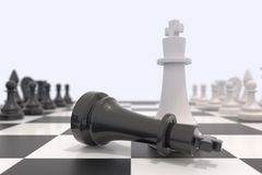Two chess pieces on a chessboard. Black king laying down and white king standing up. Victory, competition, discussion, agreement and confrontation concept. 3D Royalty Free Stock Photos