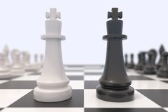 Two chess pieces on a chessboard Royalty Free Stock Images