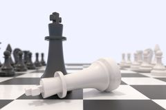 Two chess pieces on a chessboard Stock Photo