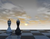 Two chess pieces in crowns, abstract background with chess board and blue, cloudy sky, king and queen. Concept 3d illustration render royalty free illustration