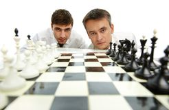 Two chess players Stock Photos