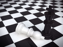 Two chessmans. Standing  on chessboard Stock Photography