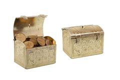 Two chests with coins Royalty Free Stock Image