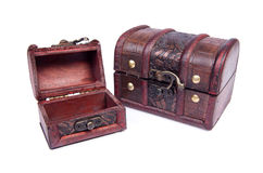Two chests. Isolated on the white Stock Photos