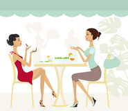 Two chic girls in a cafe. A  illustration of two chic girls in a cafe Royalty Free Stock Photo