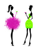 Two Chic Young Women in Party Dresses. Fashion illustration of chic young women having cocktails isolated on white Stock Photography