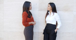 Two chic young women standing chatting stock photography