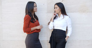 Two chic young women standing chatting stock images