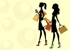 Two chick women shopping Royalty Free Stock Photo