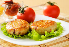Two chicken cutlets on the green leaf lettuce. Decorated with fresh vegetables Stock Photography