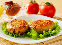 Two chicken cutlets on the green leaf lettuce. Decorated with fresh vegetables Stock Image
