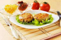 Two chicken cutlets on the green leaf lettuce. Decorated with fresh vegetables Stock Images