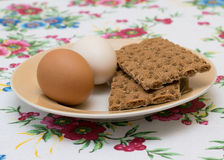 Two chicken eggs with toast Stock Photo