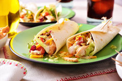 Two Chicken fajitas on green plate Stock Photos